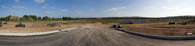 View of new housing development from A429 roundabout