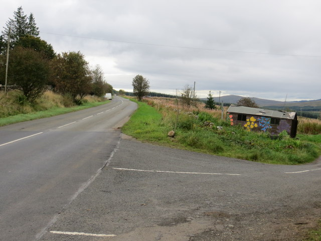The A713 heading south-east at Drumjohn