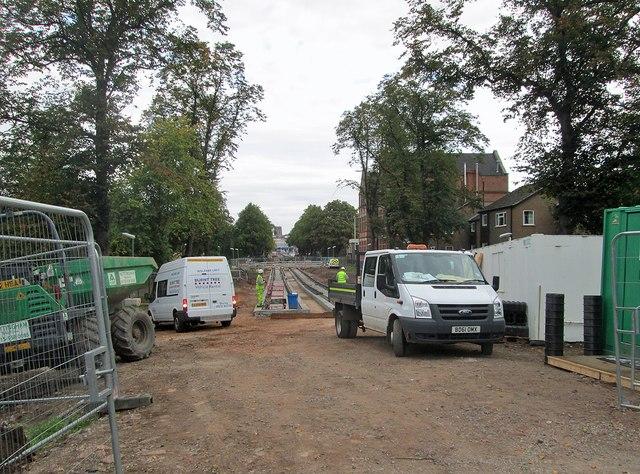 Tramway track laid near Robin Hood Way