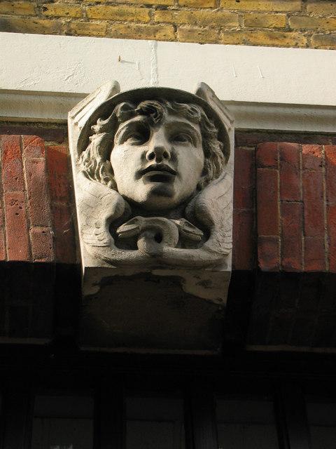 Sculpted head, Rayleigh Post Office