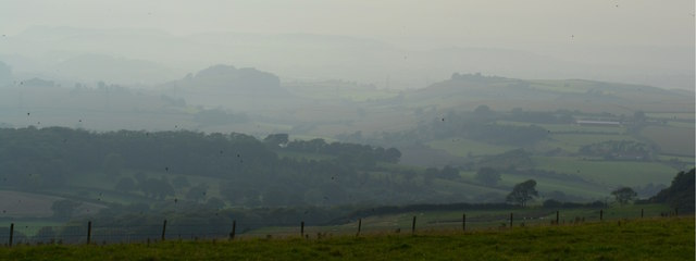 Misty evening looking west from Eggardon Hill, Dorset