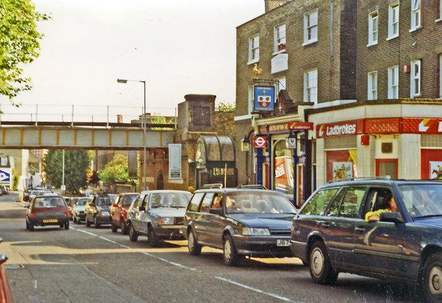 Southward on B518 (Highgate Road) at Gordon House Road, near former site of Highgate Road station