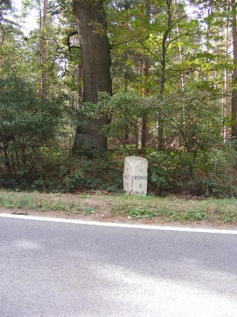 Milestone on the B1149 Holt Road