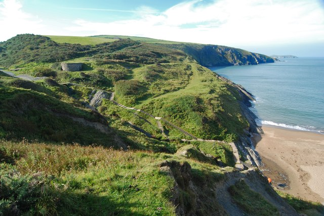 The steps down to Mwnt beach
