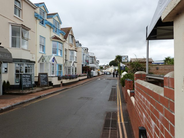 Restaurants, guest houses and a pub in The Strand, Shaldon