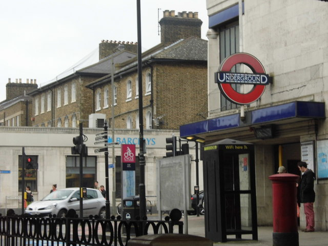 Balham Underground Station at the corner of Balham Station Road