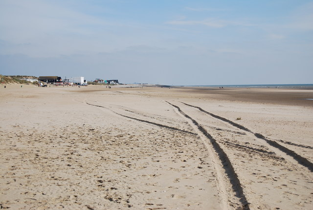 Tracks across the beach