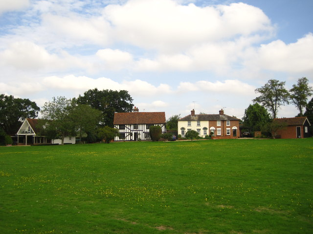 Houses on the green at Creaksea
