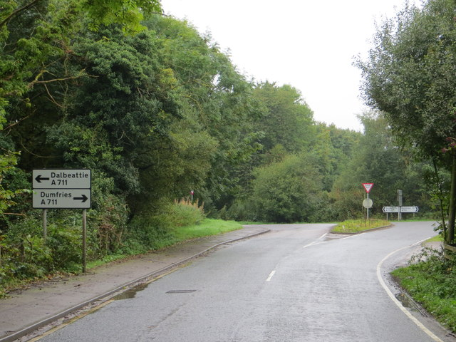 The junction of the B793 with the A711 and a choice of going to Dalbeattie or Dumfries