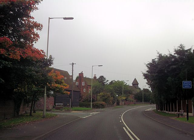 A488 approaching church in Hanwood