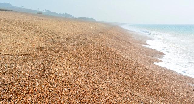 Chesil Beach waterline looking eastward, near East Bexington Farm, Dorset