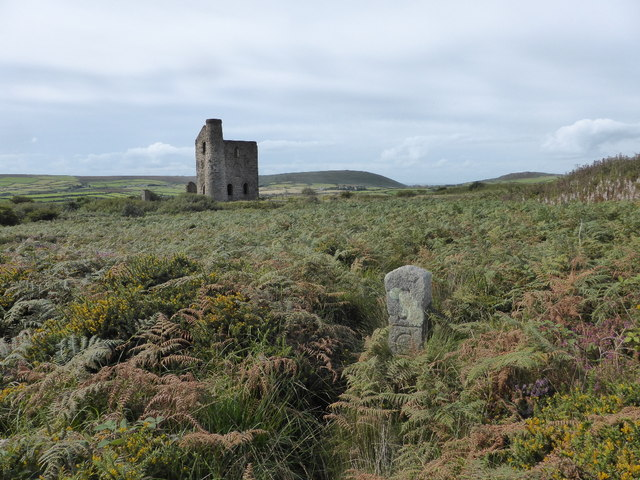 Boundary stone and engine house at Cripplesease