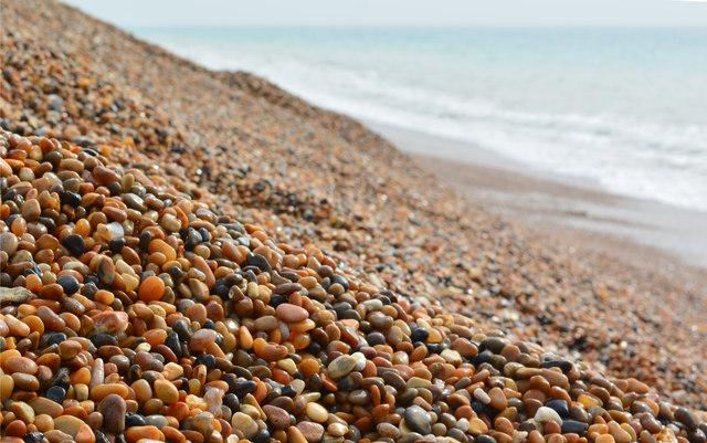 Slope and Stones of Chesil Beach near East Bexington, Dorset