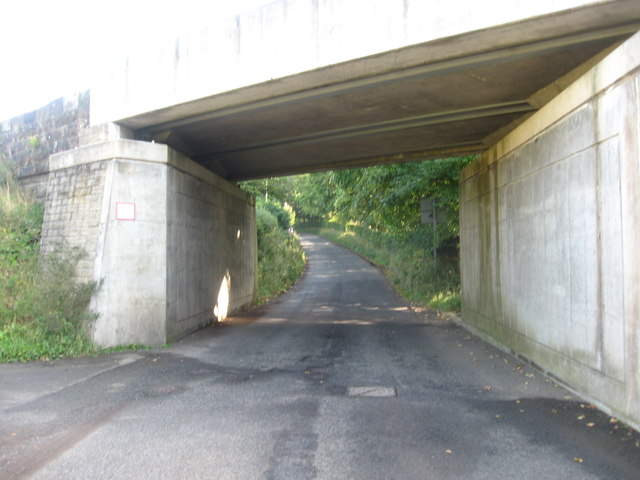 Country road passing under the railway