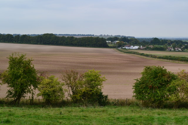 View over bare field below Bussle Wood