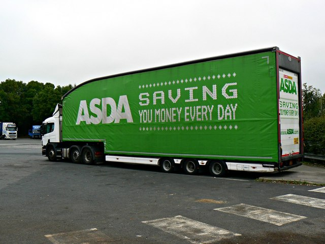 ASDA truck, lorry park, Charnock Richard Service Area, Chorley