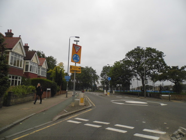 Mini roundabout on Burntwood Lane