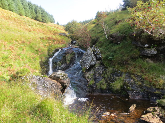 Waterfalls on a small unnamed burn in Succoth Glen