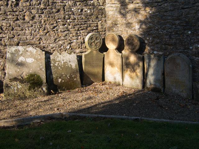 Relocated gravestones