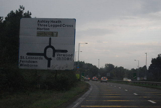 A338 approaching the A31