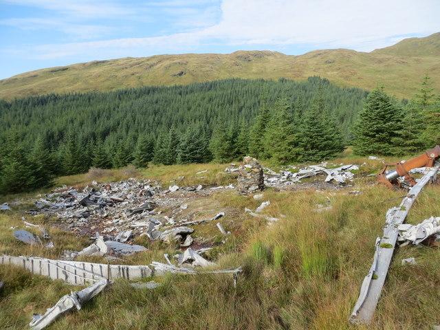Crash site on the lower slopes of Beinn Tharsuinn