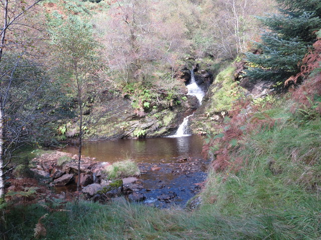 Waterfall and ford on the Criogan Burn