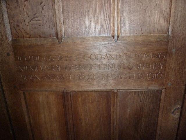 St Aldhelm, Bishopstrow: memorial (l)