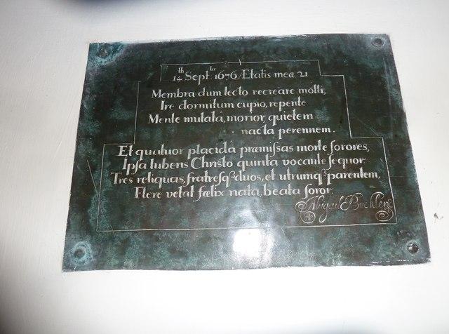 St Aldhelm, Bishopstrow: memorial (o)