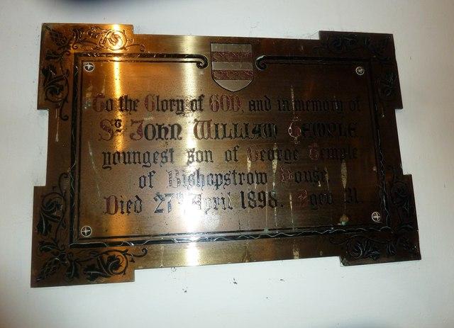 St Aldhelm, Bishopstrow: memorial (q)