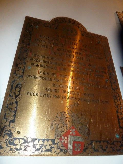 St Aldhelm, Bishopstrow: memorial (r)