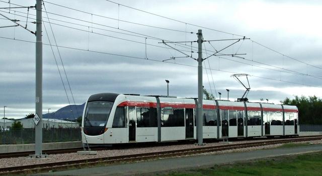Tram leaving Edinburgh Airport station