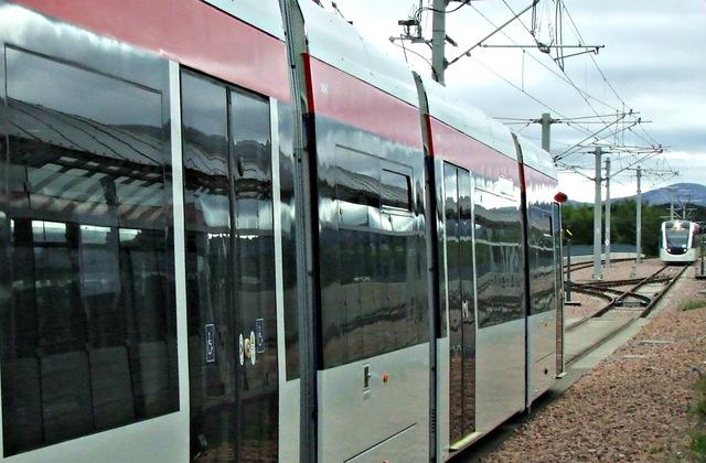 Trams at Edinburgh Airport station