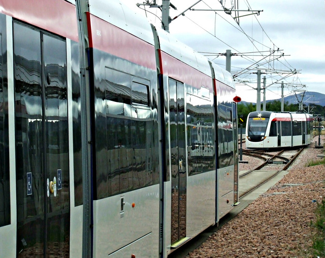 Trams at Edinburgh Airport station