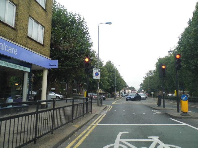 Garratt Lane at the junction of Burntwood Lane