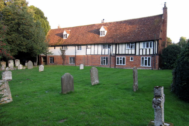 Cottages at the edge of the churchyard