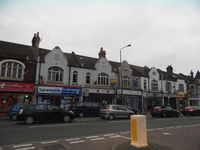 Shops on Streatham High Road from Norbury Lane