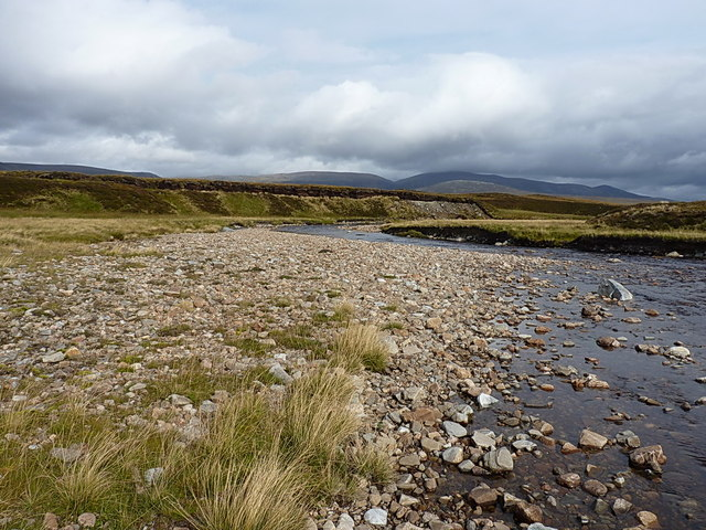 River Feshie and a shingle bank