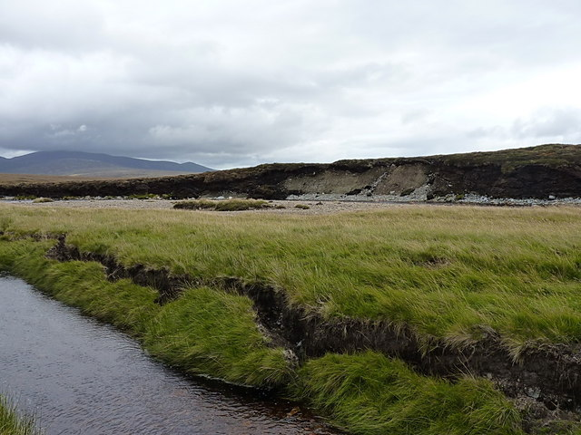 Collapsing peat banks and an eroding moraine