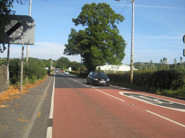 The A71 passing Garrionhaugh Farm