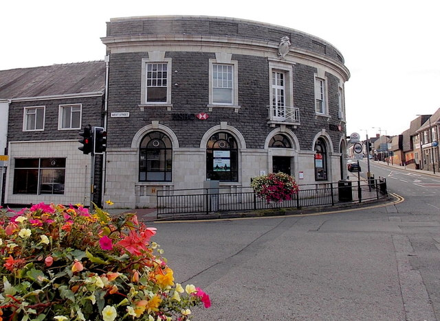 HSBC and floral displays in Gorseinon