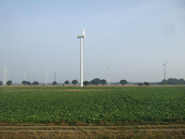 Crop field and wind turbines, Nun Moors