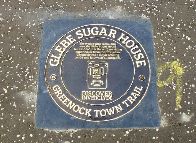 Glebe Sugar House, Greenock Town Trail Plaque, Greenock