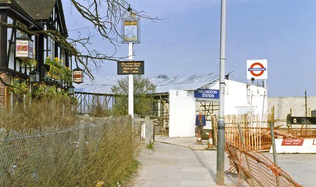 Hillingdon station: temporary entrance during rebuilding 1993