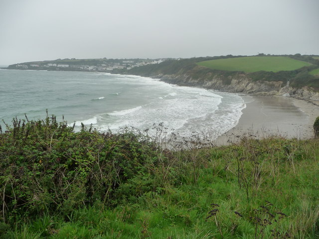 Looking over Porthcurnick Beach towards Portscatho, Cornwall