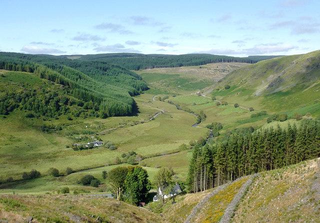 Cwm Tywi seen from Coed Nantyrhwch, Powys