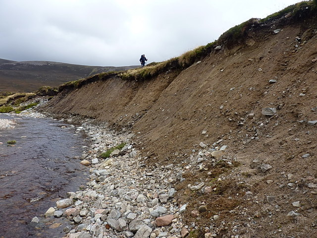 An eroding moraine bank on the upper Feshie
