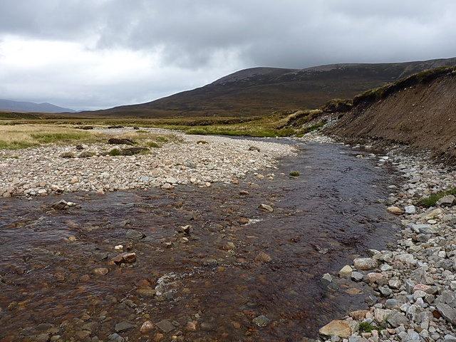 Down the Feshie, with Meall Tionail beyond