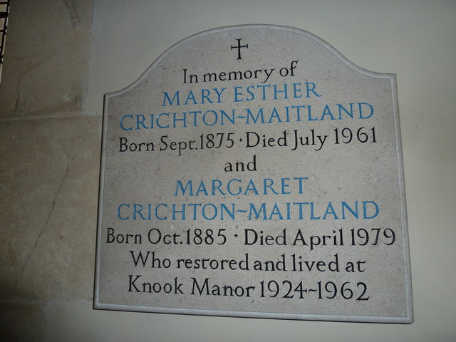 St Margaret: memorial to the restorers of  Knook House