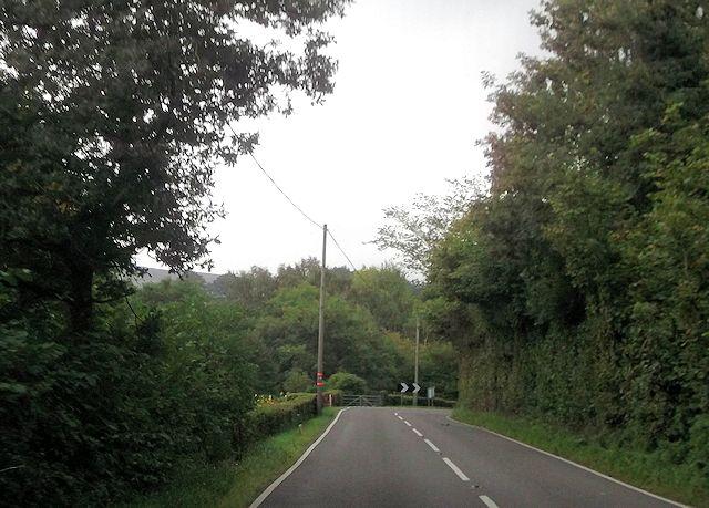 Sharp bend on A488 near The Waterwheel