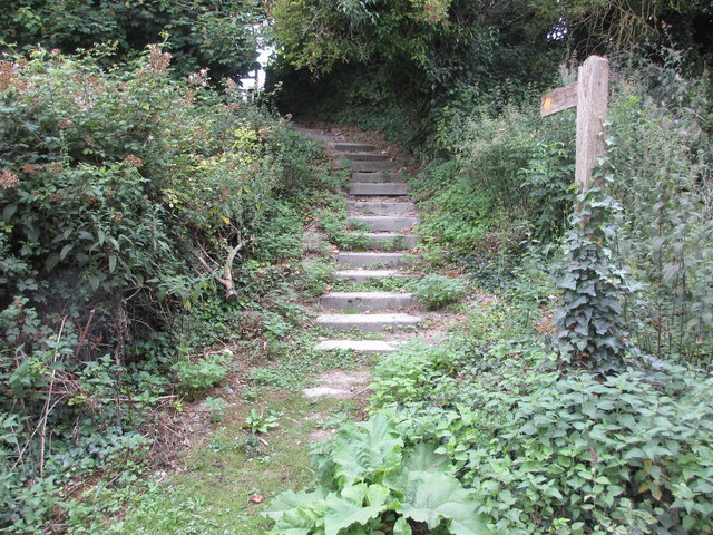 Steps and fingerpost